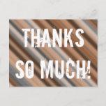 "[ Thumbnail: Customizable & Rustic ""Thanks So Much!"" Postcard ]"