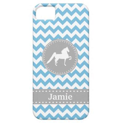 Customizable Saddlebred Blue Chevron iPhone 5 Case