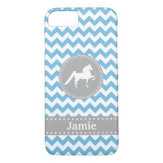 Customizable Saddlebred Blue Chevron iPhone 7 case