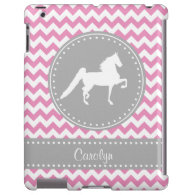 Customizable Saddlebred Pink Chevron iPad Case