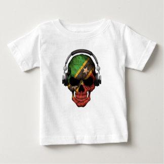 Customizable Saint Kitts Dj Skull with Headphones Baby T-Shirt