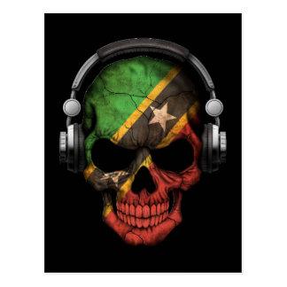 Customizable Saint Kitts Dj Skull with Headphones Postcard