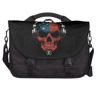 Customizable Samoan Dj Skull with Headphones Laptop Bag
