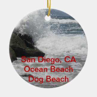Customizable San Diego, Ocean Beach, CA Gifts Ceramic Ornament