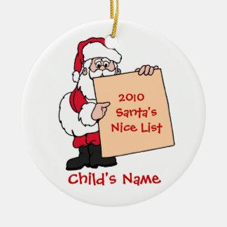 Customizable Santa's Nice List Ornament