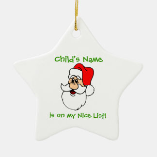 Customizable Santa's Nice List Star Ornament