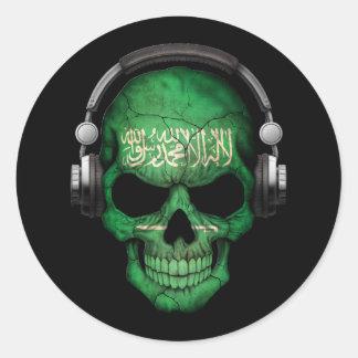Customizable Saudi Arabian Dj Skull with Headphone Classic Round Sticker