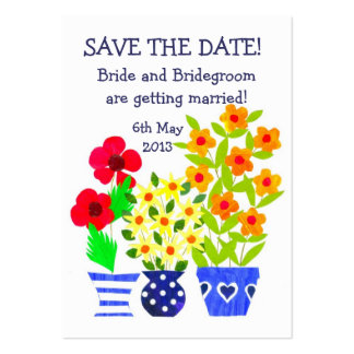 Customizable 'Save the Date' Card, Pots of Flowers Large Business Cards (Pack Of 100)