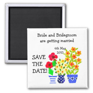 Customizable Save the Date Magnet, Flower Pots Magnet