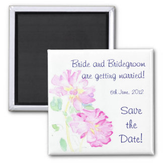 Customizable 'Save the Date' Magnet, Pink Roses Magnet