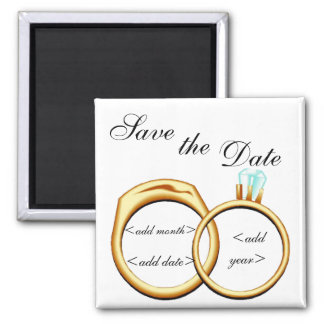 Customizable Save The Date Rings 2 Inch Square Magnet
