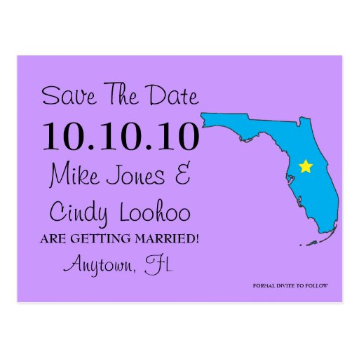 Customizable Save the Date State - FLORIDA Postcards