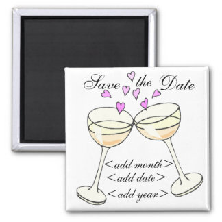 Customizable Save The Date Toast 2 Inch Square Magnet