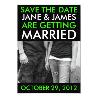 Customizable Save The Dates (Hip Bright Green) Card