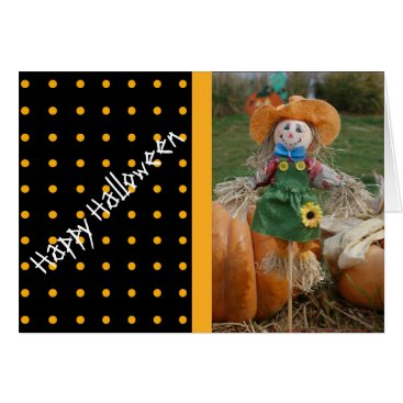 Halloween Themed Customizable Scarecrow Happy Halloween Card