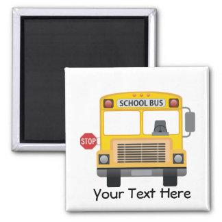 Customizable School Bus 2 Inch Square Magnet