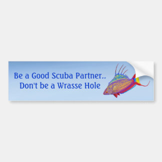 Customizable Scuba Diving Wrasse Fish Bumper Stick Bumper Sticker