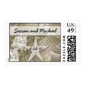 Customizable Sea Shell Wedding Stamps - Gold