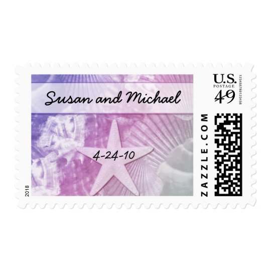 Customizable Sea Shell Wedding Stamps Purple/Pink
