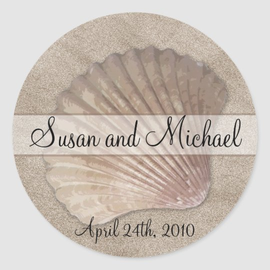 Customizable Sea Shell Wedding Stickers