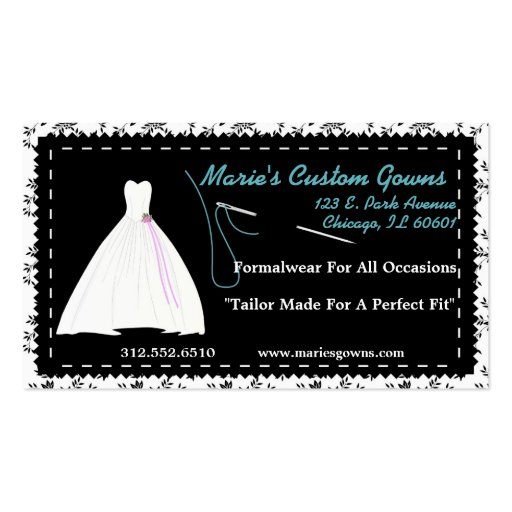 Customizable Seamstress Boutique Business Card