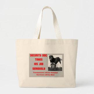 Customizable Security Dog Large Tote Bag