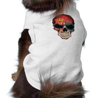 Customizable Serbian Flag Skull Pet T-shirt