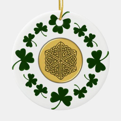 CUSTOMIZABLE!  Shamrocks - Gold Irish Celtic Ceramic Ornament