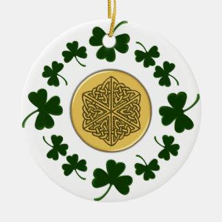 CUSTOMIZABLE!  Shamrocks - Gold Irish Celtic Christmas Tree Ornament