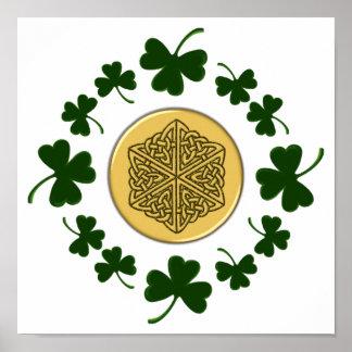 CUSTOMIZABLE!  Shamrocks - Gold Irish Celtic Poster