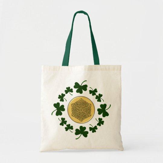 CUSTOMIZABLE!  Shamrocks - Gold Irish Celtic Tote Bag