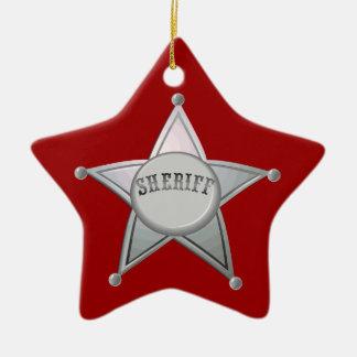 Customizable Sheriff Badge Star Officer Design Ceramic Ornament
