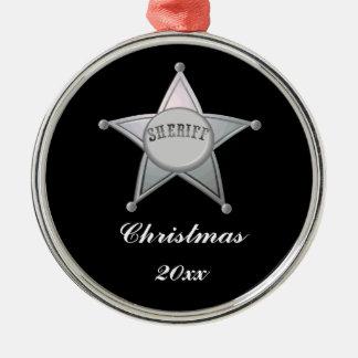 Customizable Sheriff Badge Star Officer Design Metal Ornament