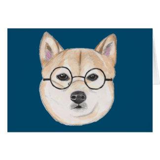 Customizable Shiba Inu with Oversized Glasses Card