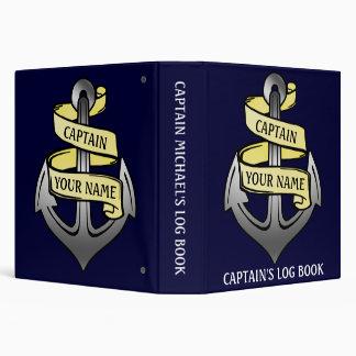 Customizable Ship Anchor Your Name Captain Log 3 Ring Binder