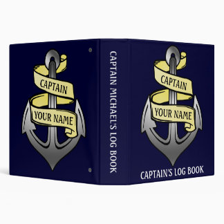 Customizable Ship Anchor Your Name Captain Log Vinyl Binder