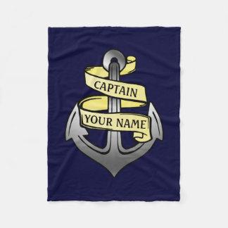 Customizable Ship Captain Your Name Anchor 1 Fleece Blanket