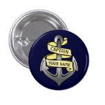 Customizable Ship Captain Your Name Anchor 2 Button