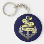 Customizable Ship Captain Your Name Anchor Basic Round Button Keychain