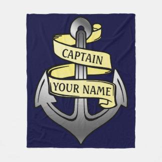 Customizable Ship Captain Your Name Anchor Big Fleece Blanket