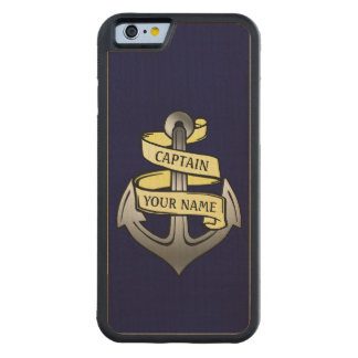 Customizable Ship Captain Your Name Anchor Carved® Maple iPhone 6 Bumper