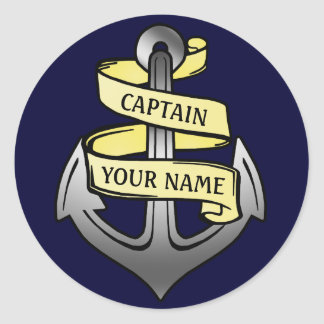 Customizable Ship Captain Your Name Anchor Classic Round Sticker
