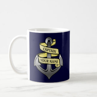 Customizable Ship Captain Your Name Anchor Coffee Mug