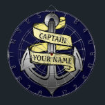 "Customizable Ship Captain Your Name Anchor Dart Board<br><div class=""desc"">Add your name to this customizable metal-looking ship anchor design. You can also personalize the word &quot;Captain&quot; and change it to &quot;1st Mate&quot; or any other text you&#39;d like. It&#39;s the perfect nautical design for a boat lover / owner. If you sail your own yacht or enjoy boating / yachting...</div>"