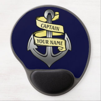 Customizable Ship Captain Your Name Anchor Gel Mouse Pad