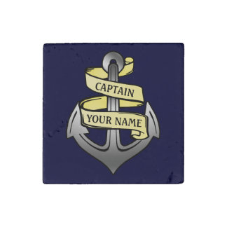 Customizable Ship Captain Your Name Anchor Stone Magnet