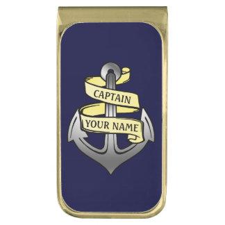 Customizable Ship Captain Your Name Anchor Gold Finish Money Clip