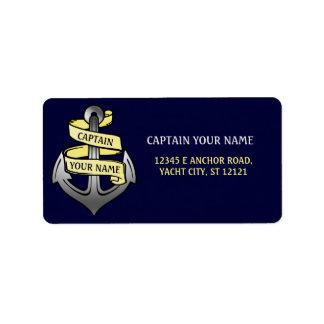 Customizable Ship Captain Your Name Anchor Label
