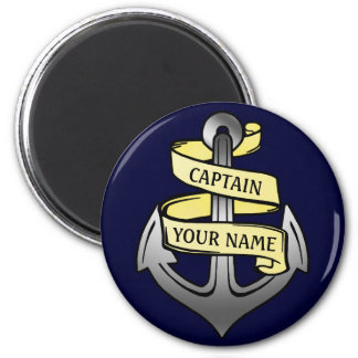 Customizable Ship Captain Your Name Anchor 2 Inch Round Magnet