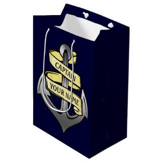 Customizable Ship Captain Your Name Anchor Medium Gift Bag